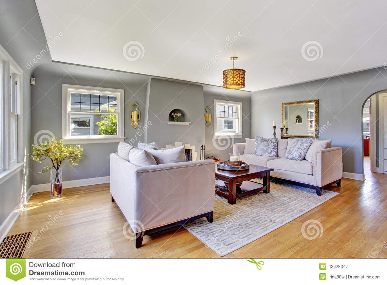 Light Grey Living Room With White Sofas Stock Photo