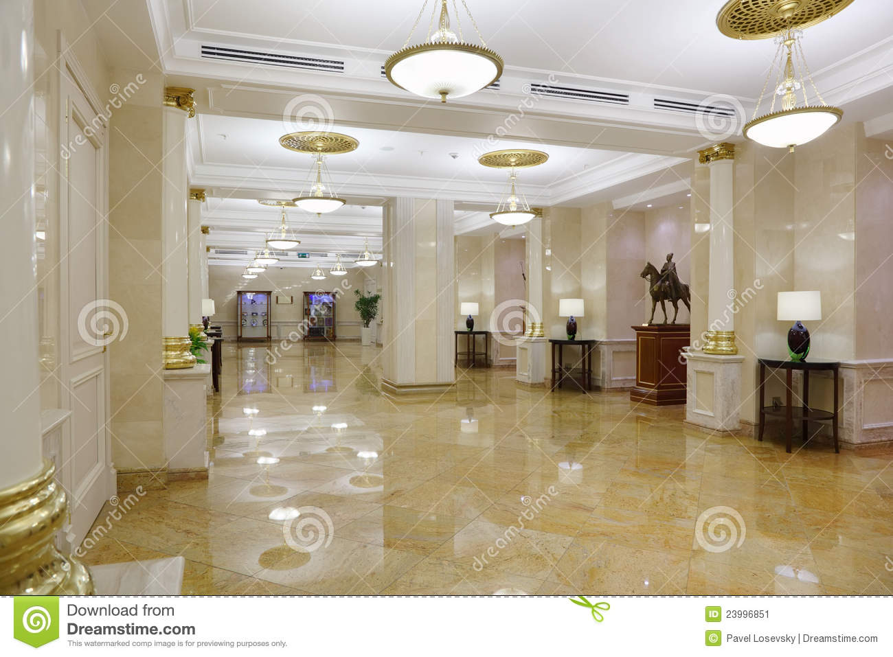 Light hall with marble floor in hotel ukraine editorial for Design hotel road kiev