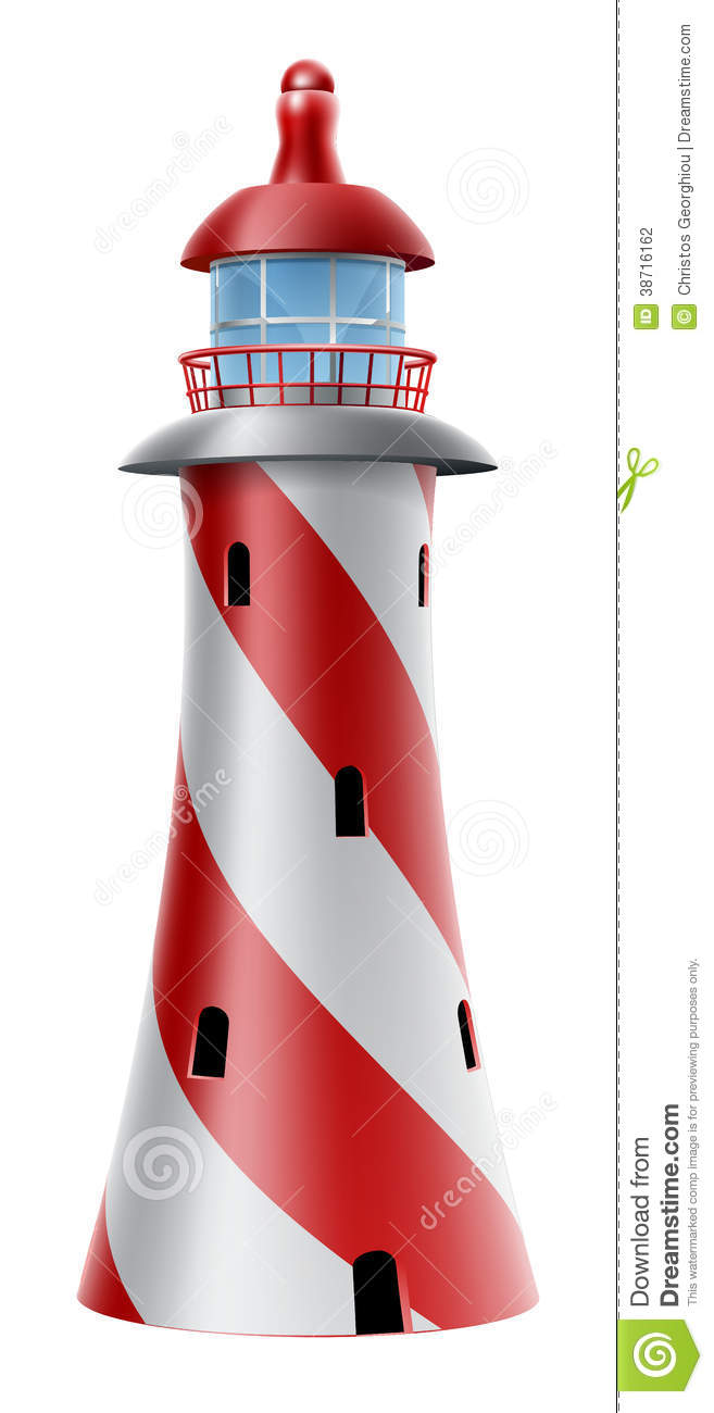 Red House Drawing: Light House Illustration Stock Photography