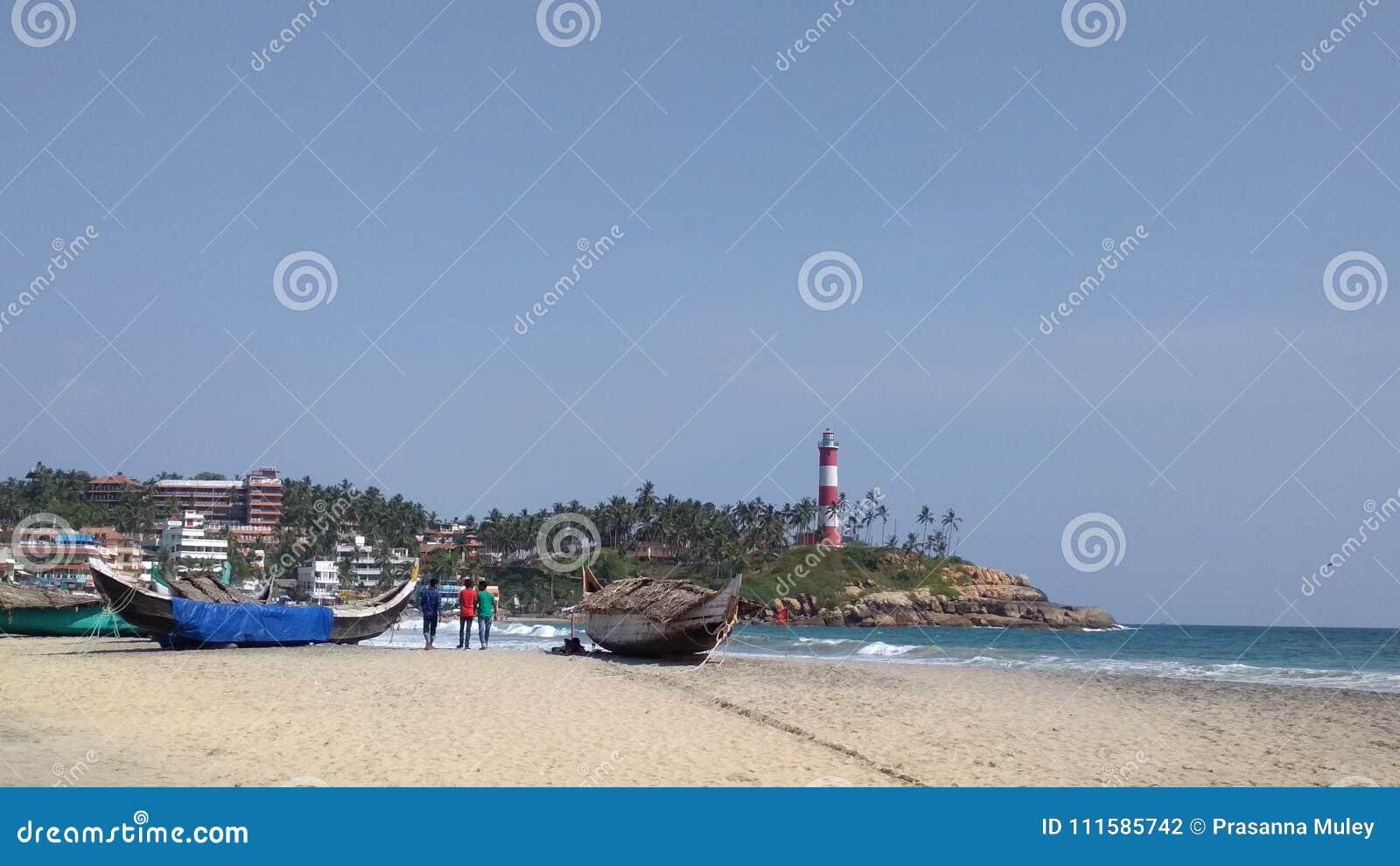 Light House At Kovalam Beach Stock Photo - Image of beach