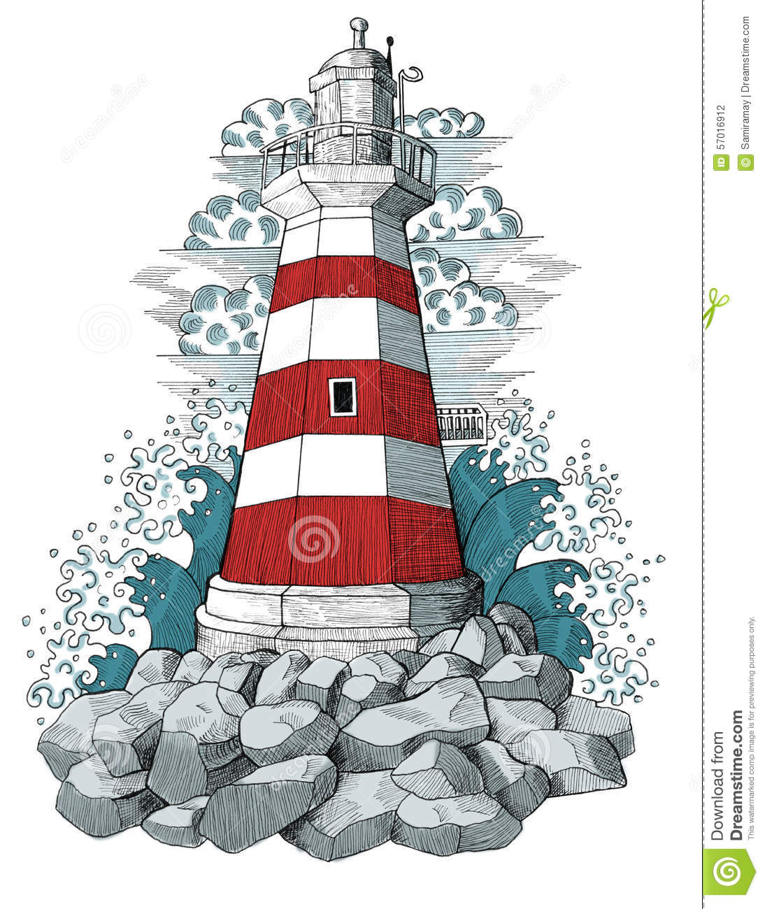 Light house with waves and clouds