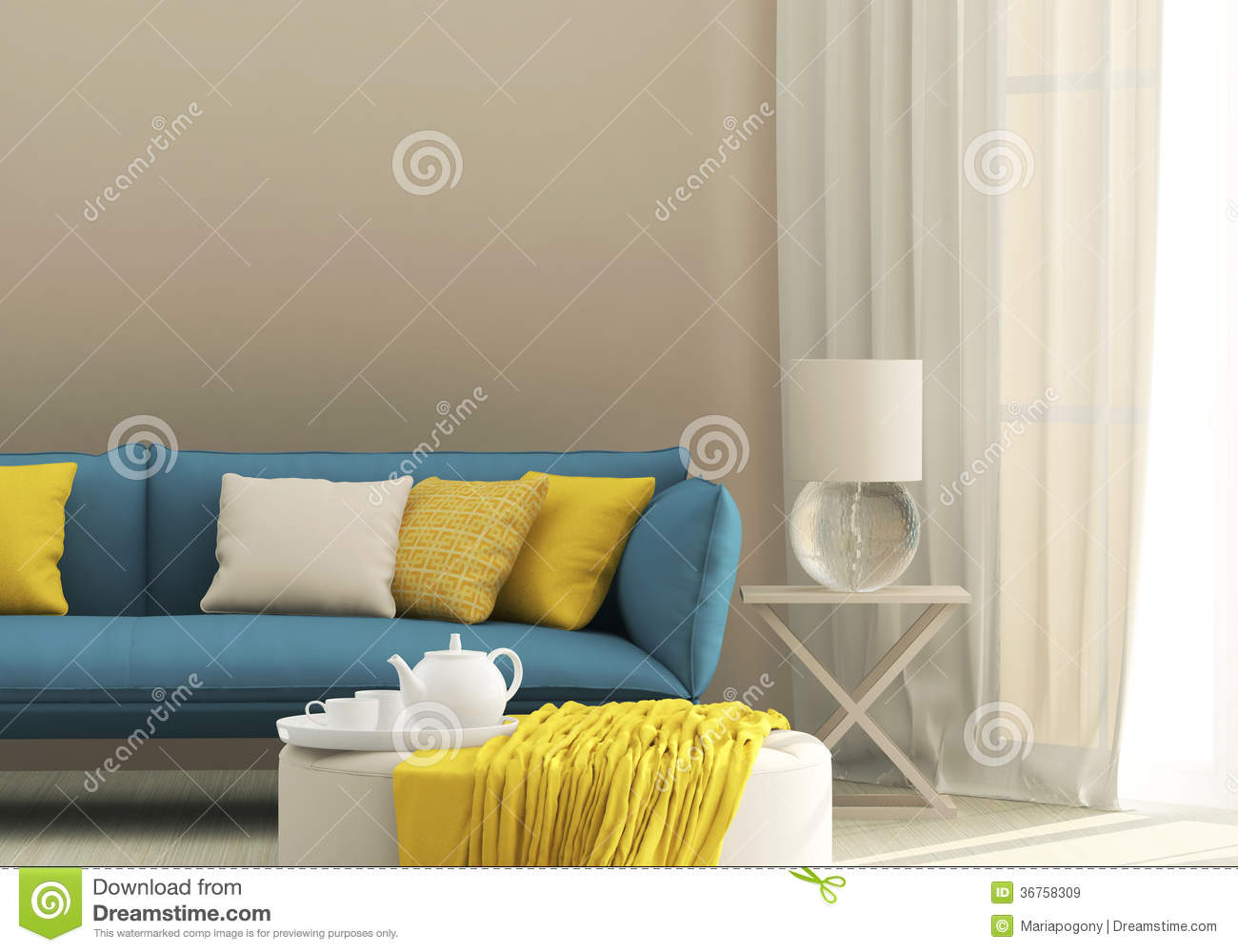Light Interior With Blue Sofa Royalty Free Stock Images
