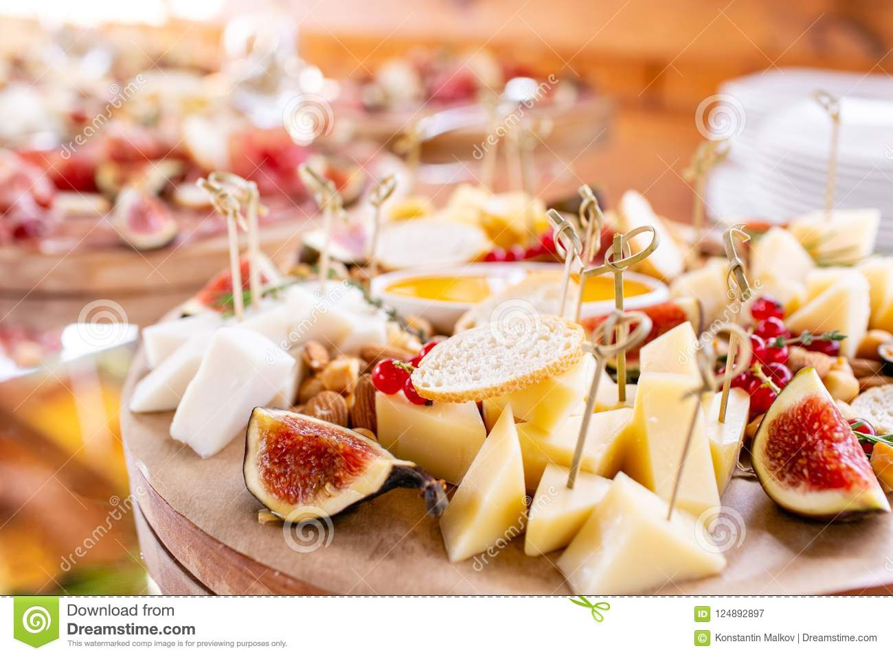 light italian snacks a buffet table at a dinner party cheese plate