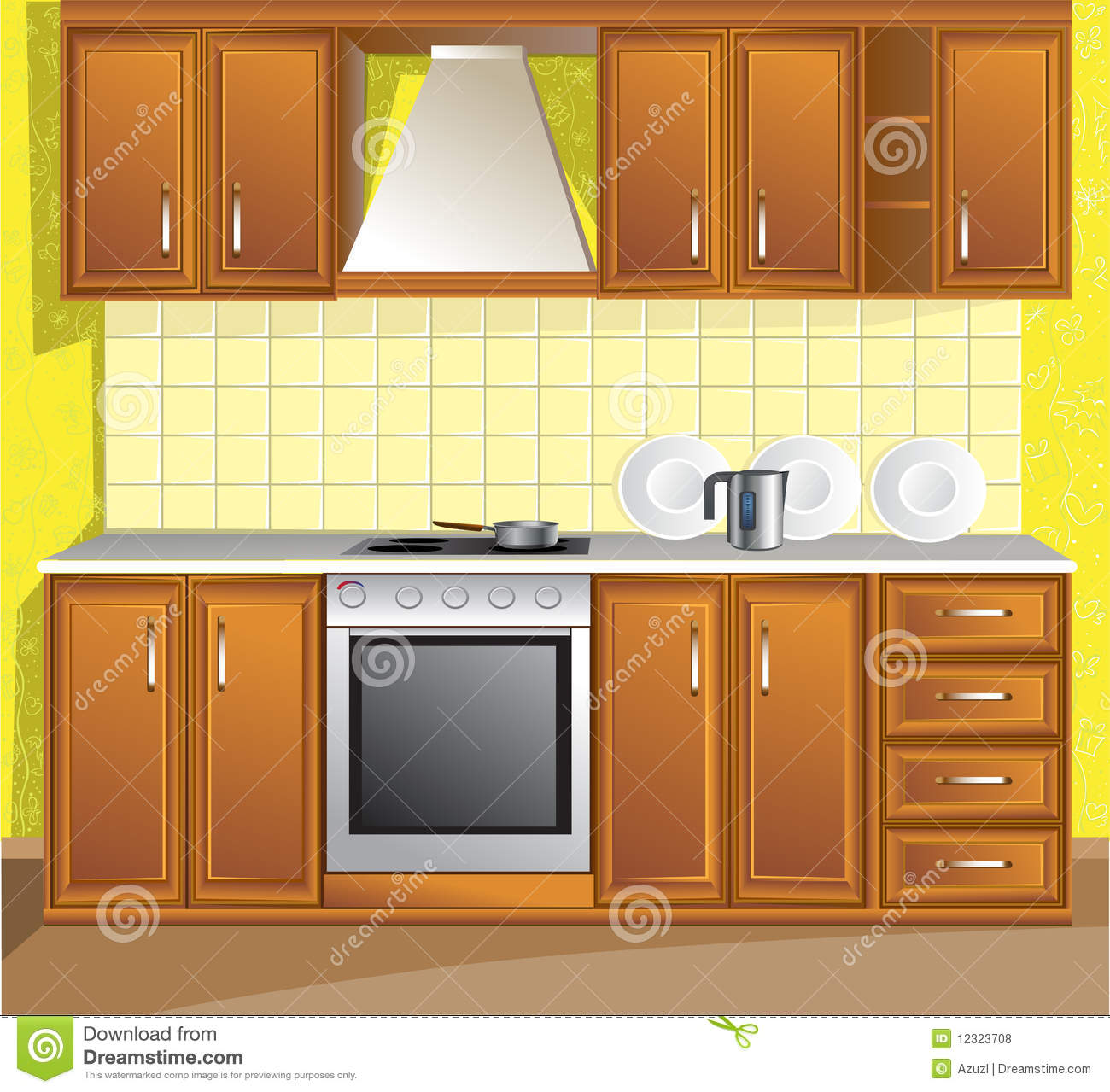 Kitchen Cabinet Clip Art: Light Kitchen Room Stock Vector. Illustration Of Dish