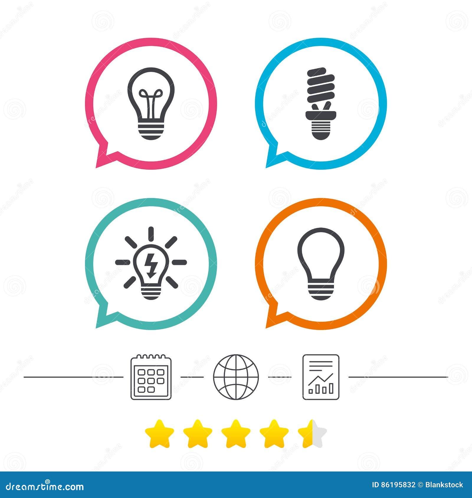 Light Lamp Icons Energy Saving Symbols Stock Vector Illustration