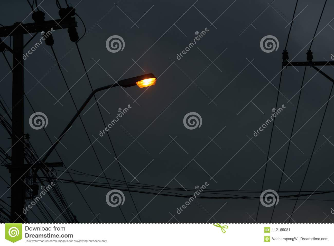 Light Lamp On Pole With Electric Wires Dark Night Sky Backgro Electrical Wiring Fixtures