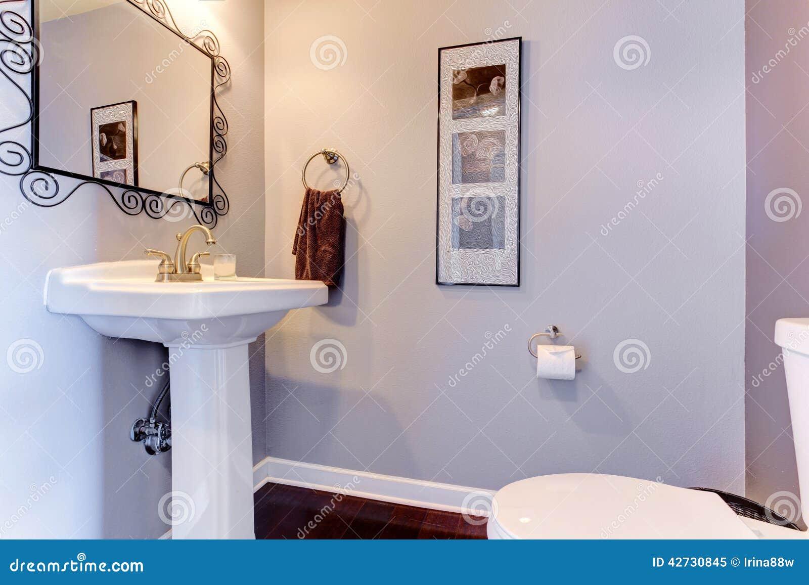 Light lavender small bathroom interior stock photo image - Lavender and white bathroom ...