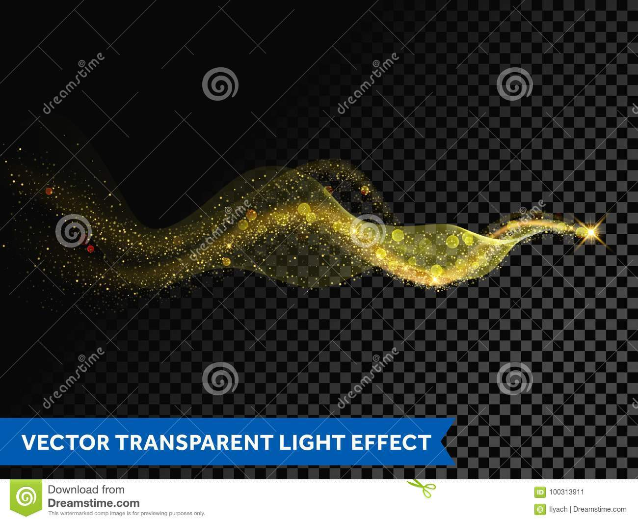Light line gold wave effect of magic sparkle trail on transparent background. Vector glitter light particles flare trace and bokeh