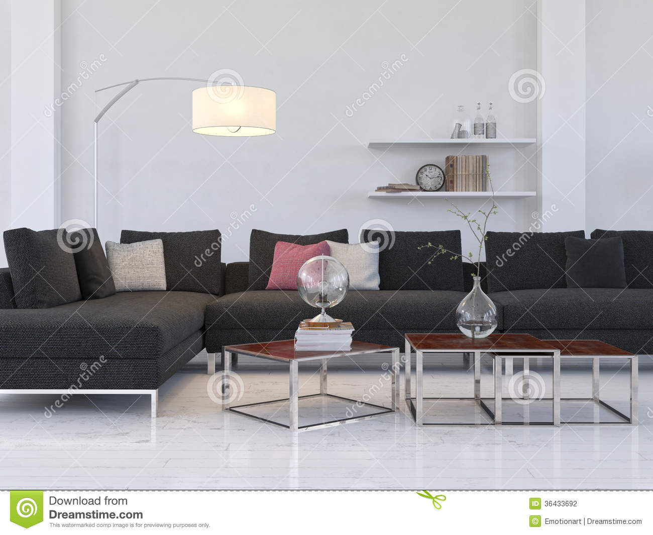 Light Living Room Light Living Room Interior With Modern Black Couch Coffe Table