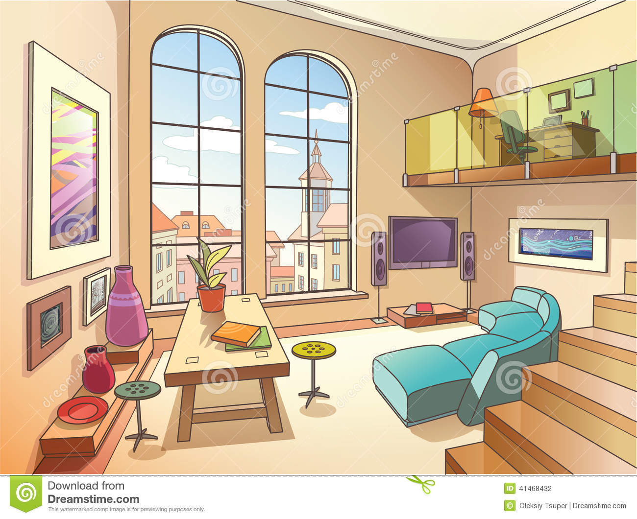 Royalty Free Vector. Download Light Living Room ... Part 21
