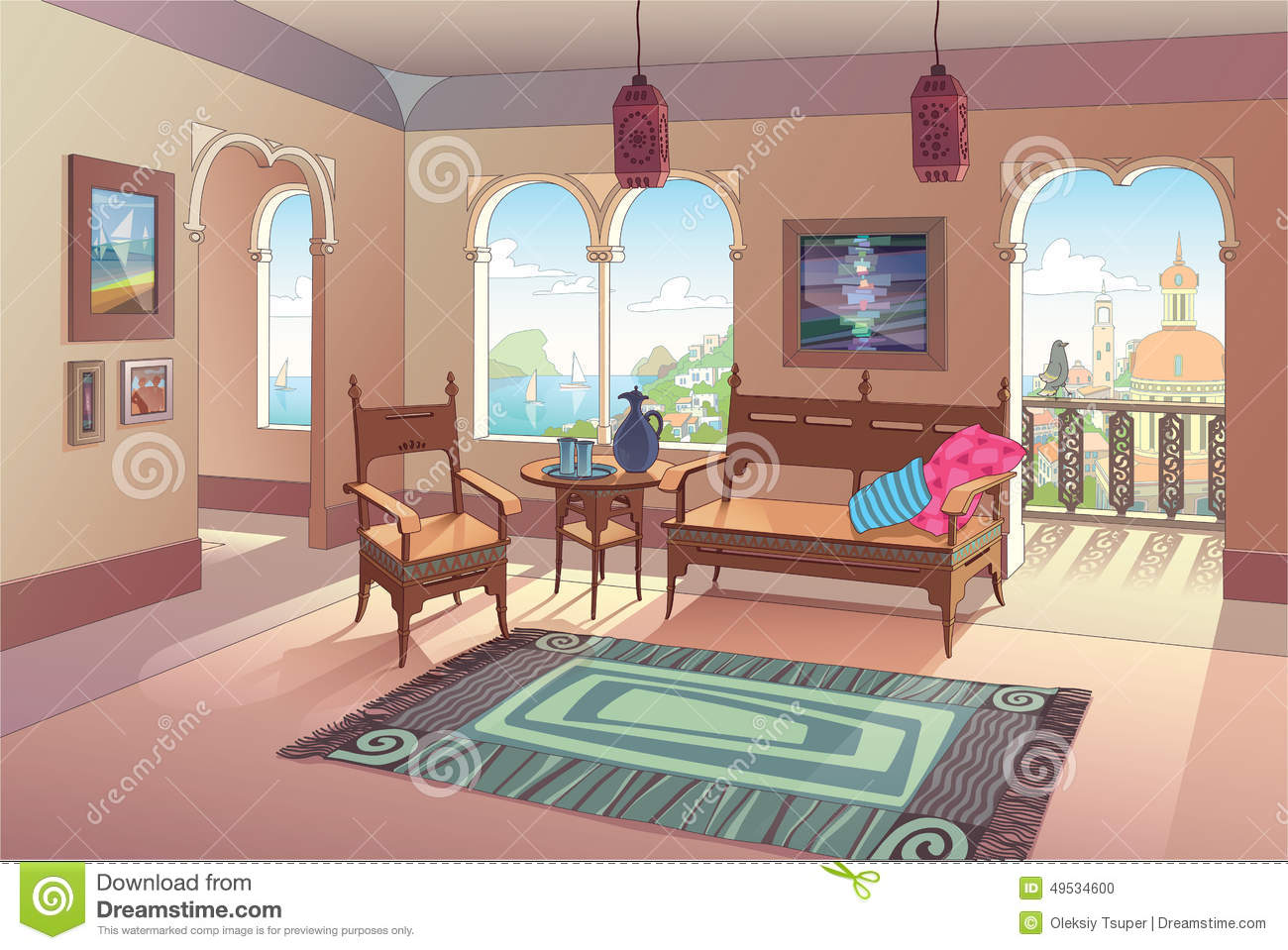 Light Living Room In Oriental Style Stock Vector - Image: 49534600