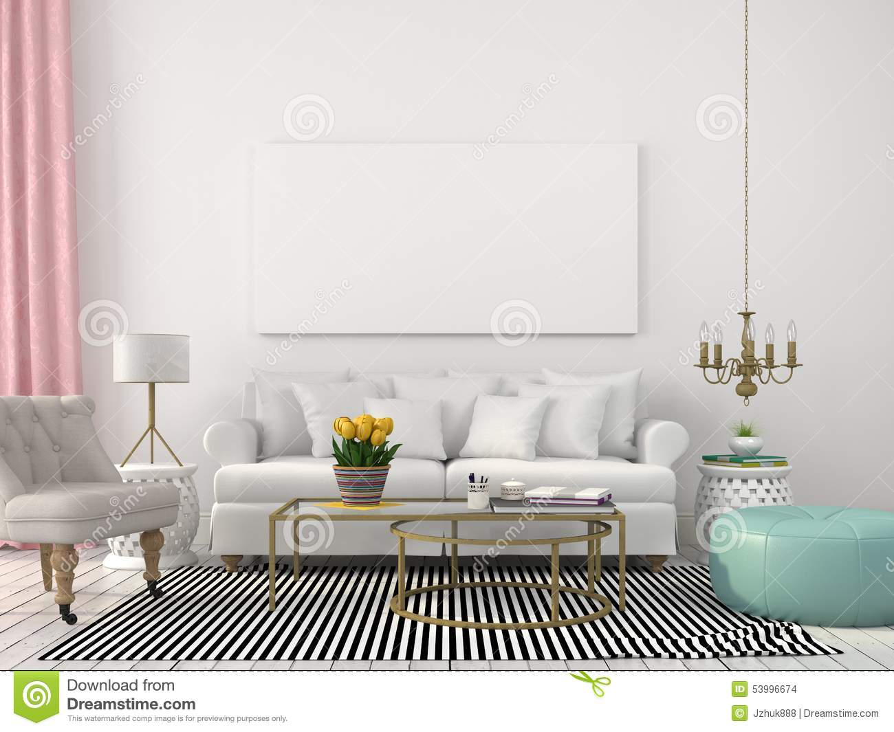 Light Living Room In White And Pastel Colors Stock Photo ...