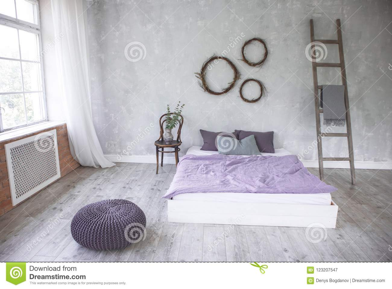Light Loft Style Bedroom Interior,design Made In Gray And Purple Colors  With Modern Furniture
