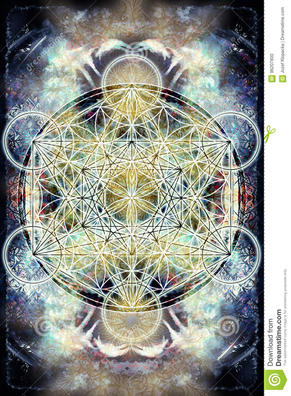 Light Merkaba And Flower Of Life On Abstract Color