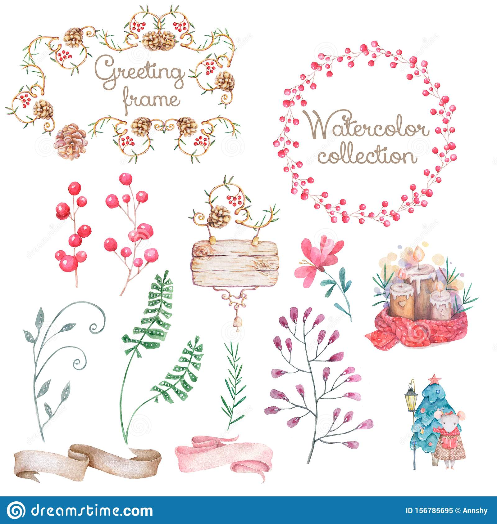 Light Merry Christmas watercolor floral background with natural tree branches and cones in hand drawn style illustration. Greeting