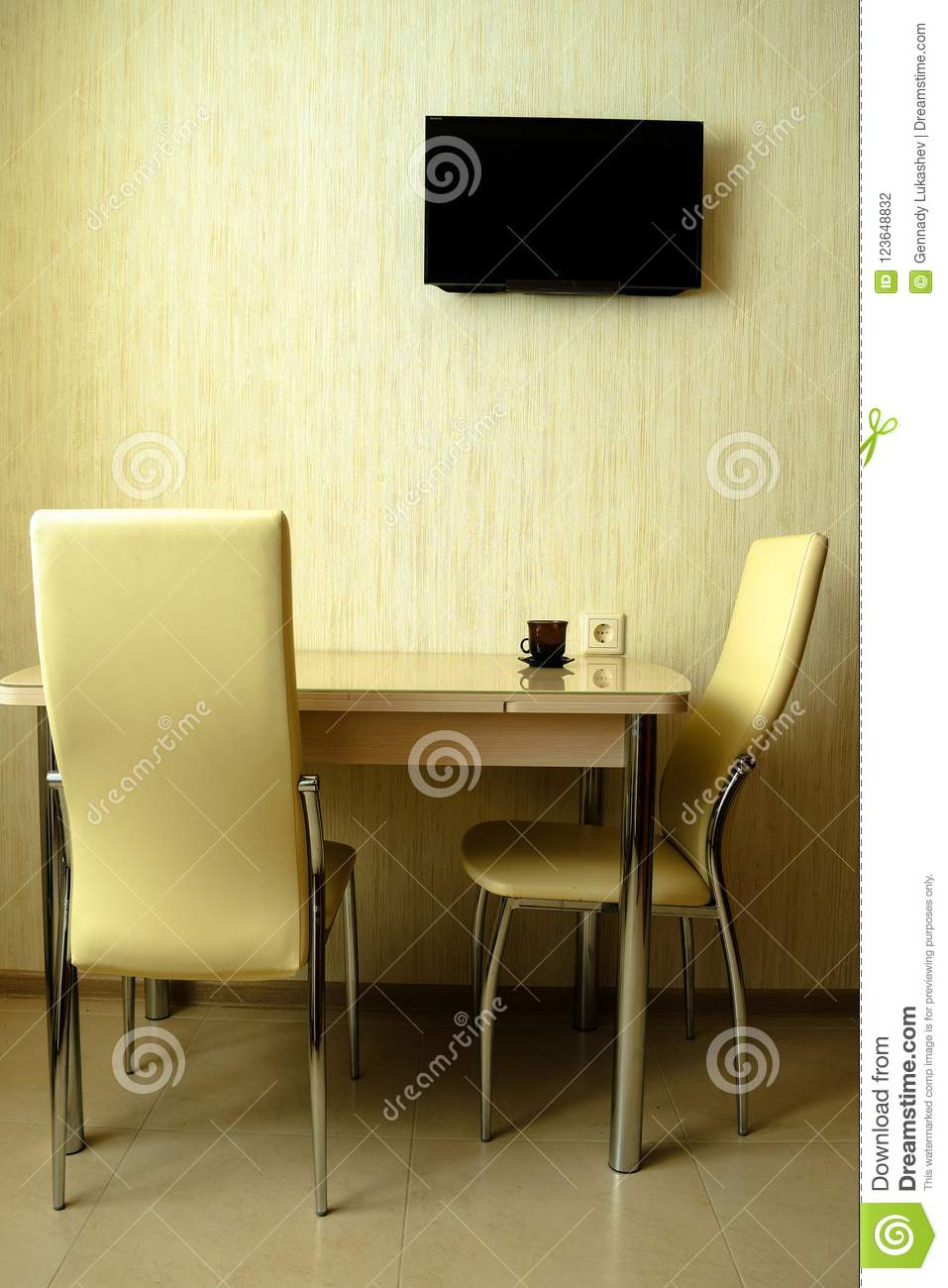 Light Modernist Furniture By The Light Wall Stock Photo - Image of ...