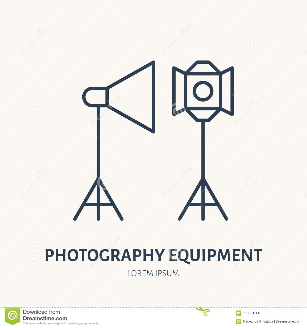 Light Modifiers Flat Line Icon Photography Equipment Sign Thin Lighting Diagram Linear Logo For Photo Studio