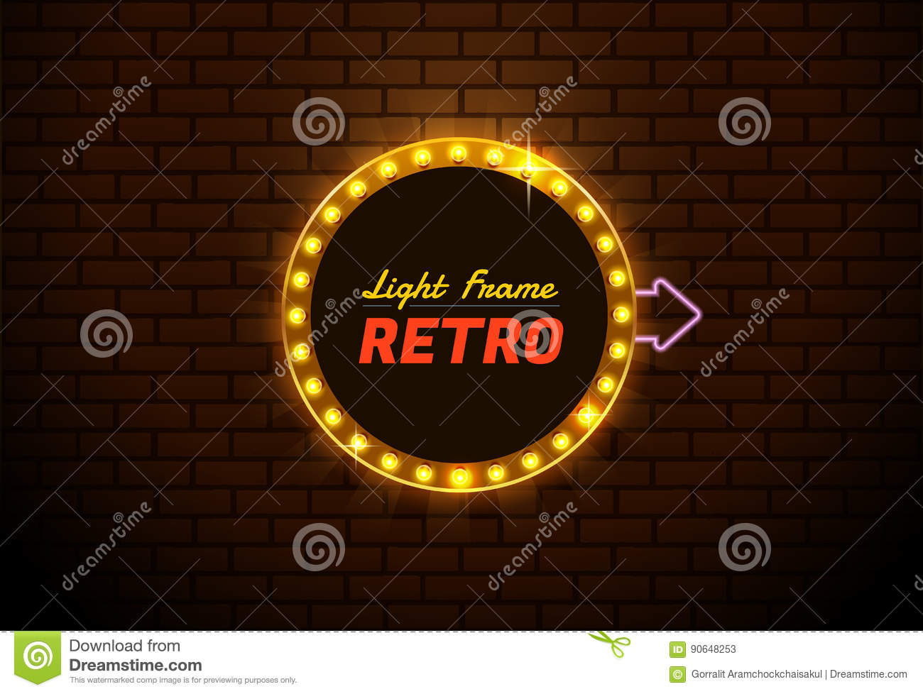 Light Neon Frame Circle Retro Vector Stock Vector Illustration Of