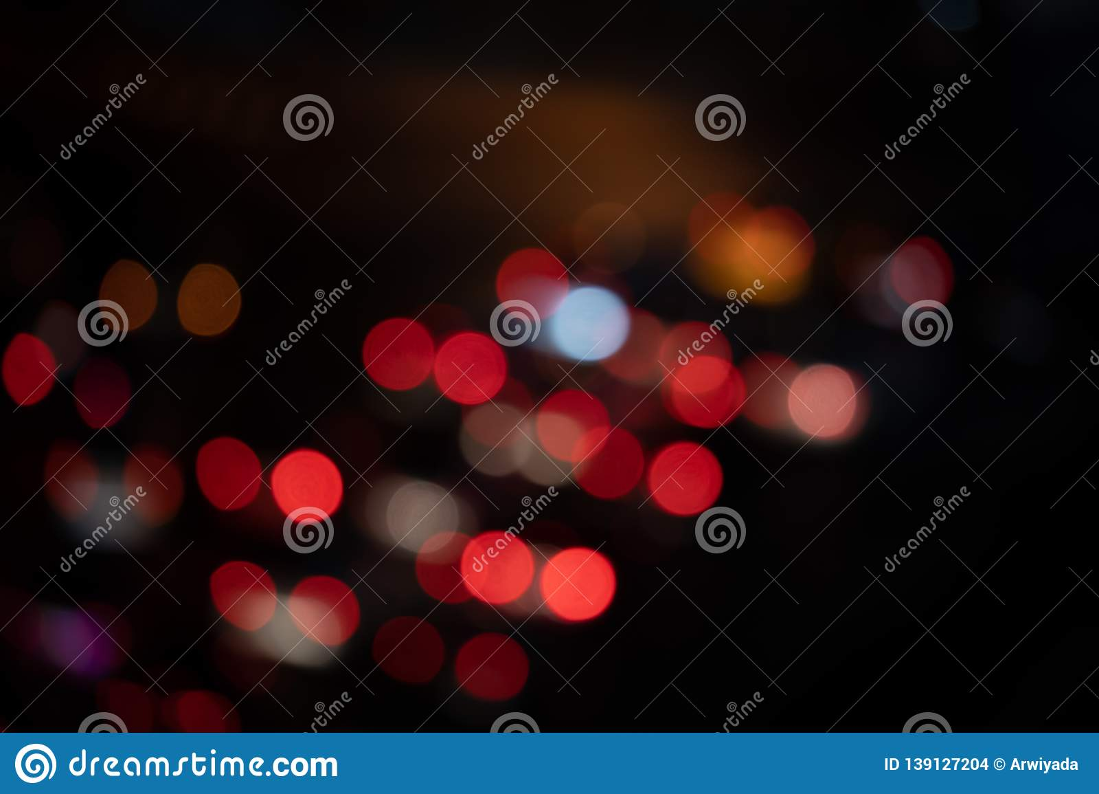Light Night At City Blue Bokeh Abstract Black Background