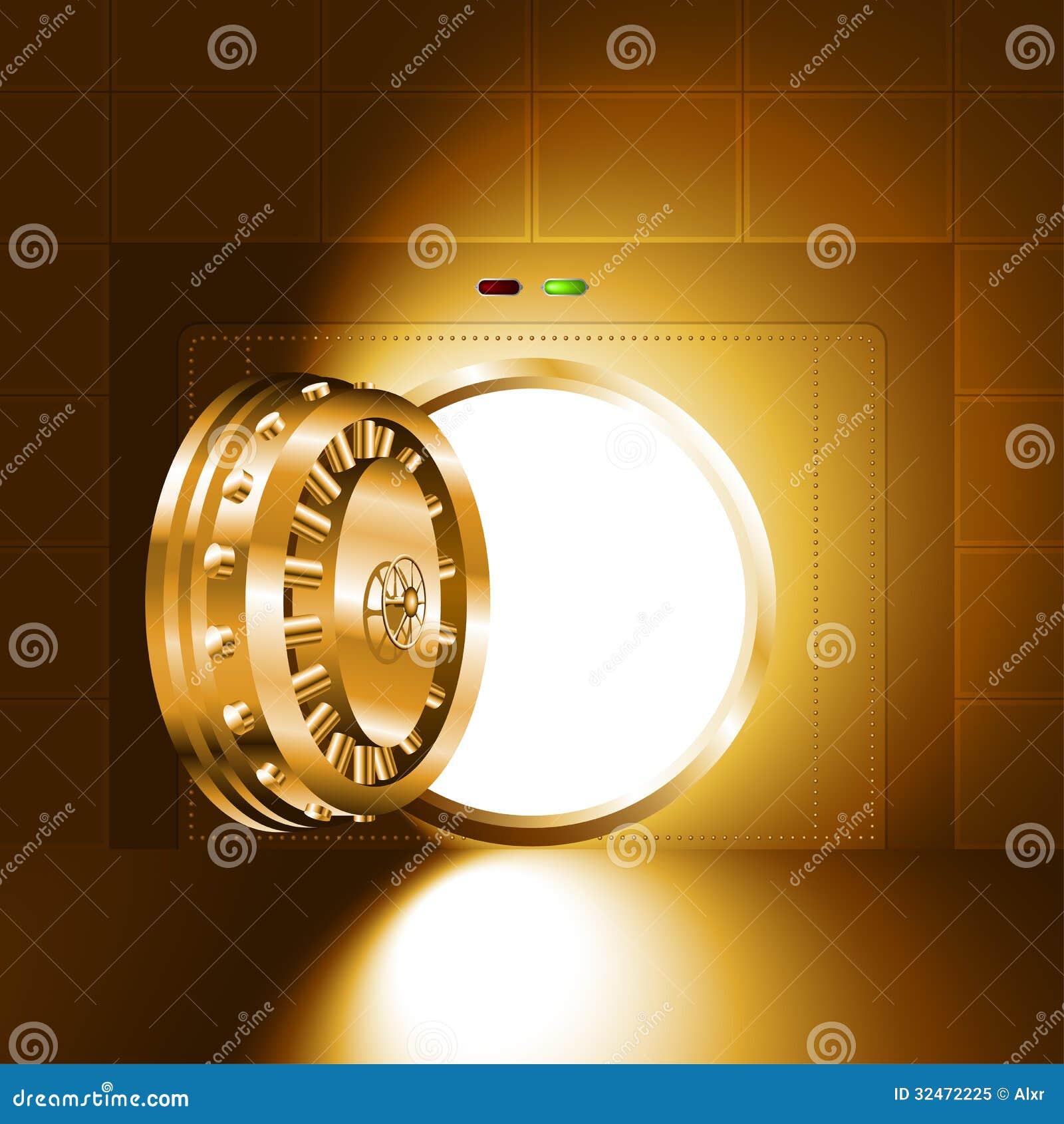 Light Open Door Safe Gold Stock Vector Illustration Of