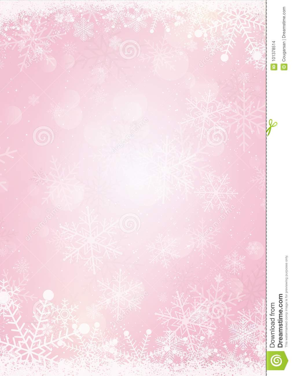 pastel pink winter snow holiday paper background stock