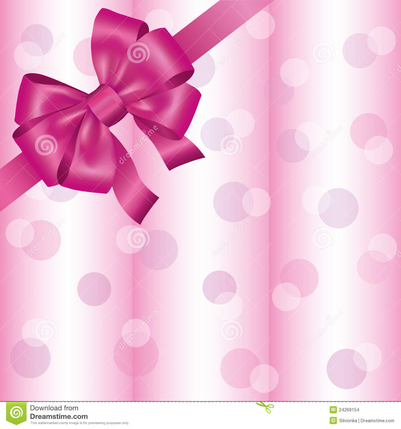 Greeting or invitation card with ribbon and bow, light pink background ...