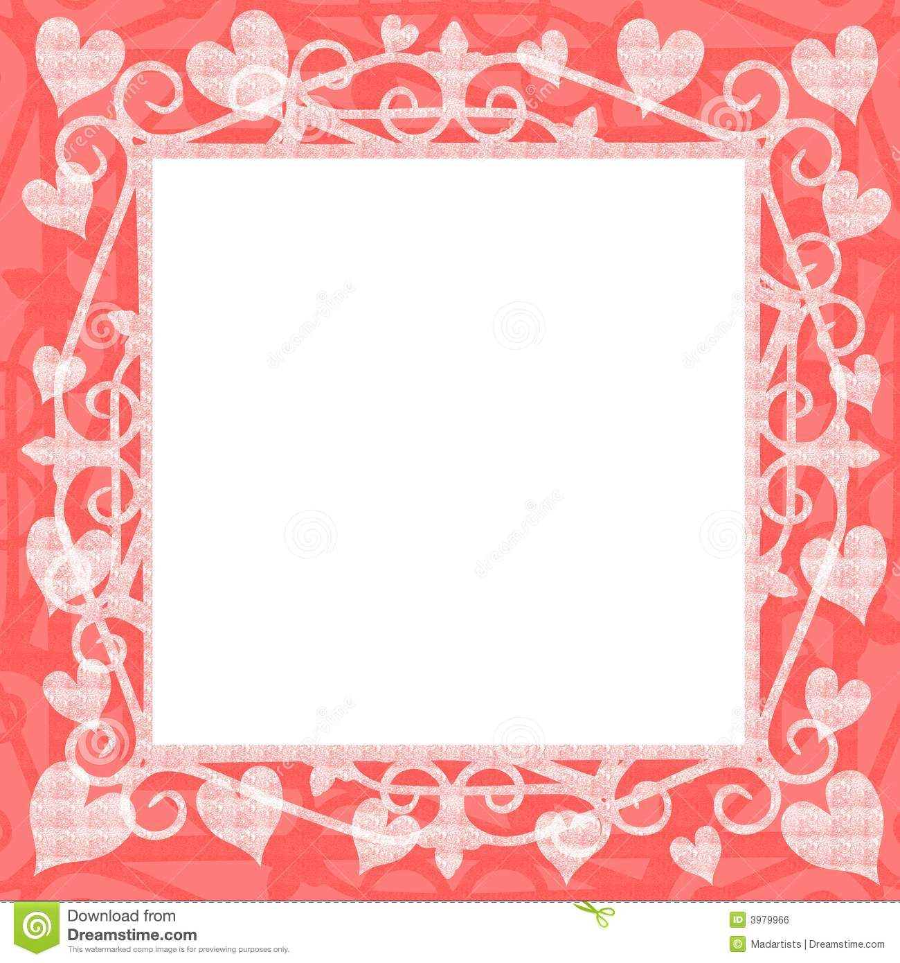 light pink hearts square frame