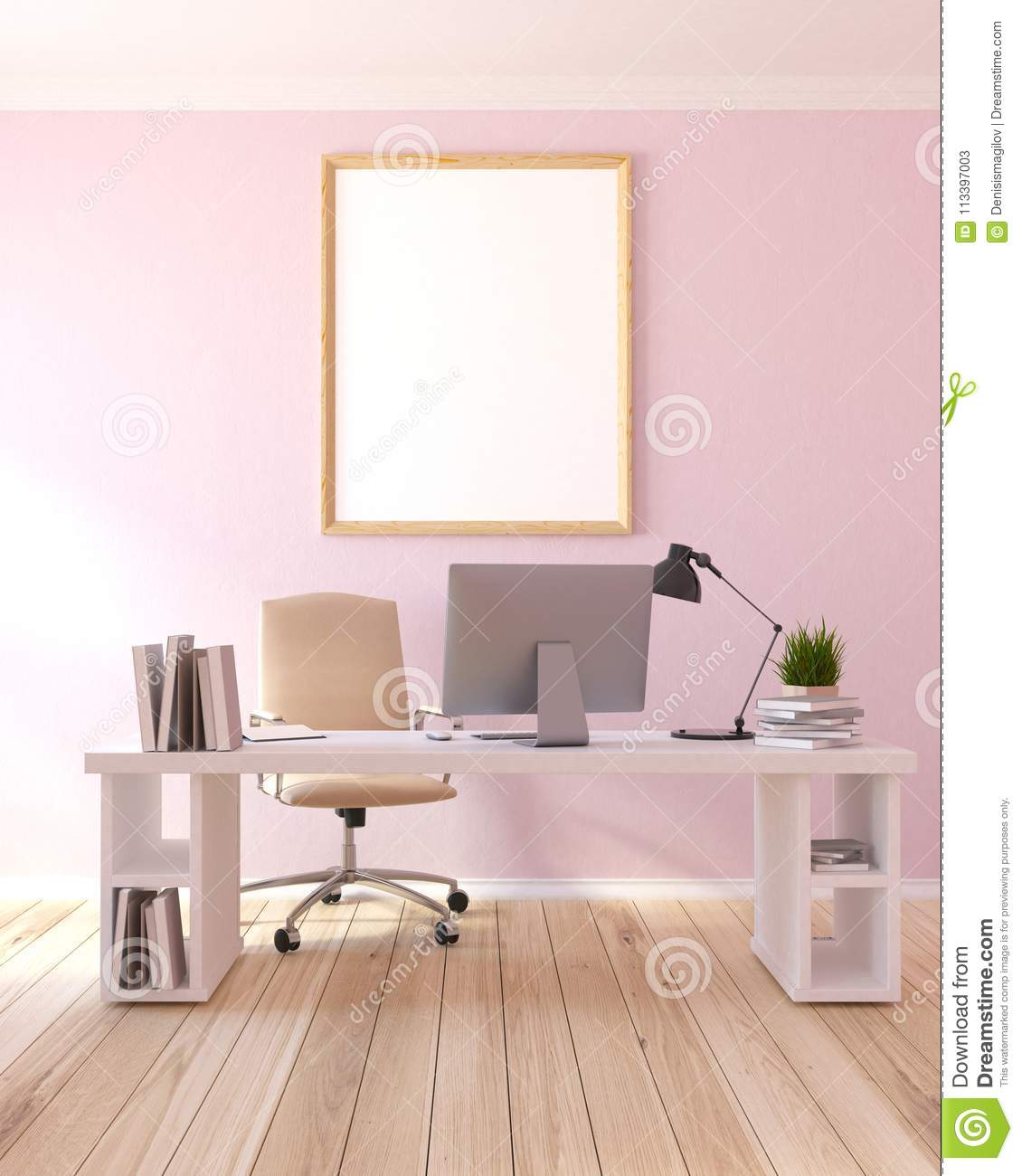 Light Pink Home Office Workplace Poster Stock Illustration Illustration Of Copy Office 113397003