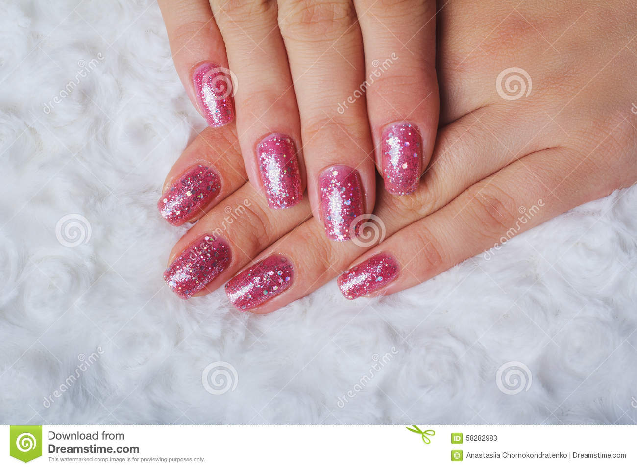 Light Pink Nail Art With Tinsel Stock Image Image Of Nature