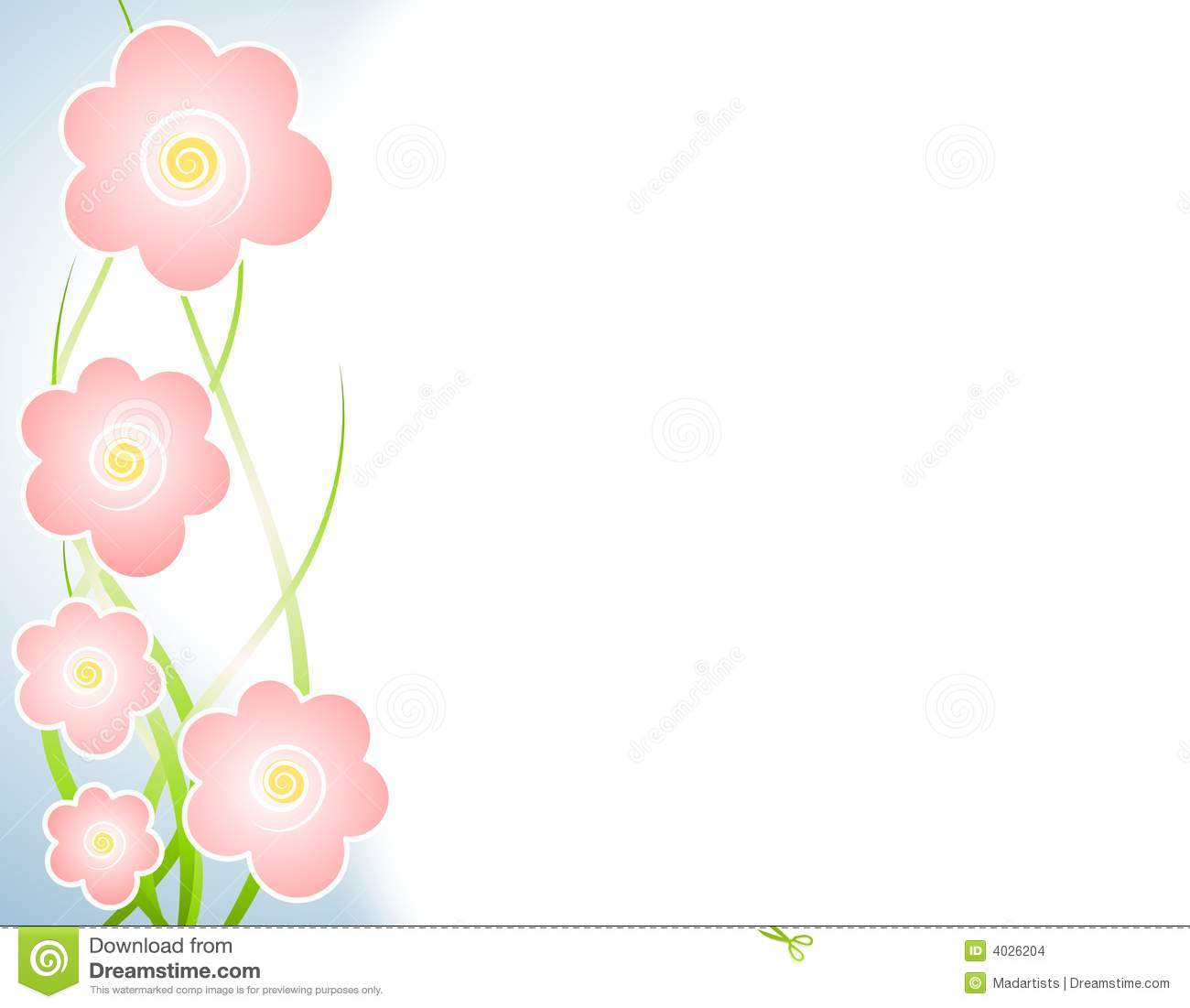 Light Pink Spring Flowers Left Border Stock Illustration