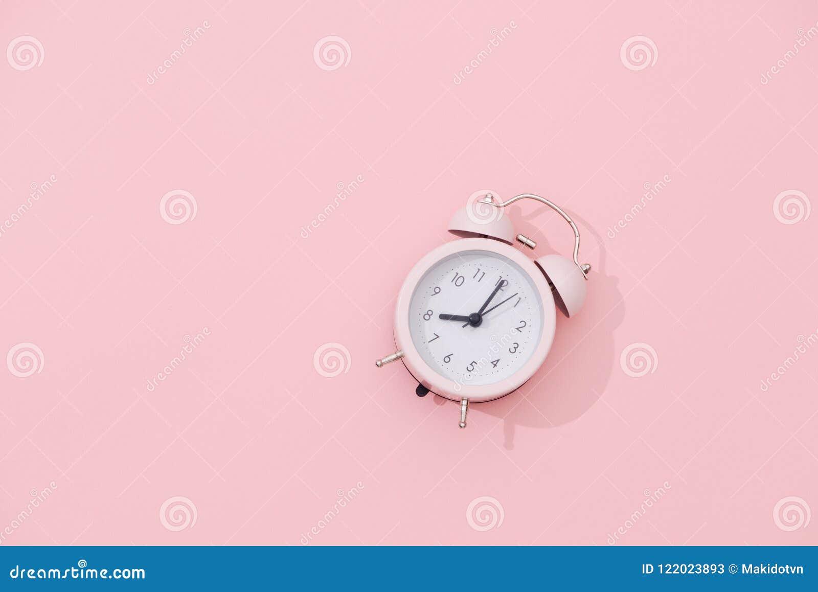 1f781f4b7f8513 Light Pink Vintage Alarm Clock On Pink Color Background Stock Image ...