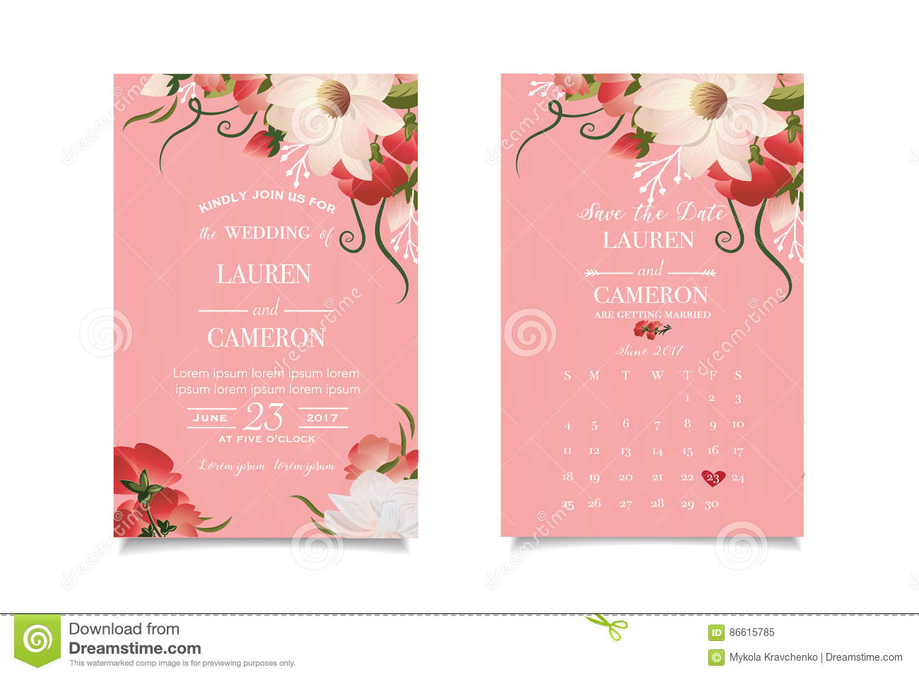 Light Pink Wallpaper Watercolor Flowers White Calligraphic Text Wedding Design