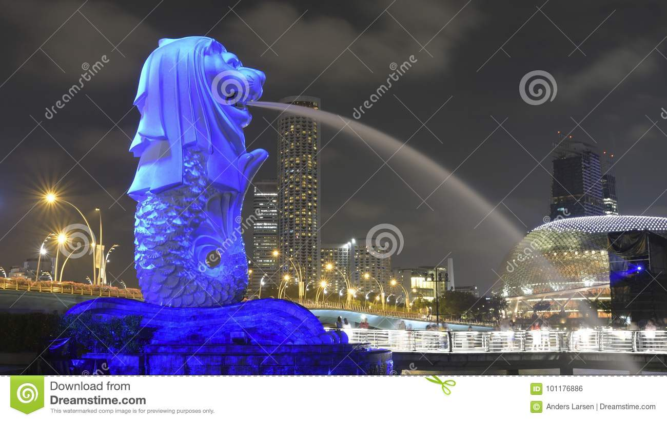 Download Light Projection Art On The Singapore Merlion Statue Editorial Photo