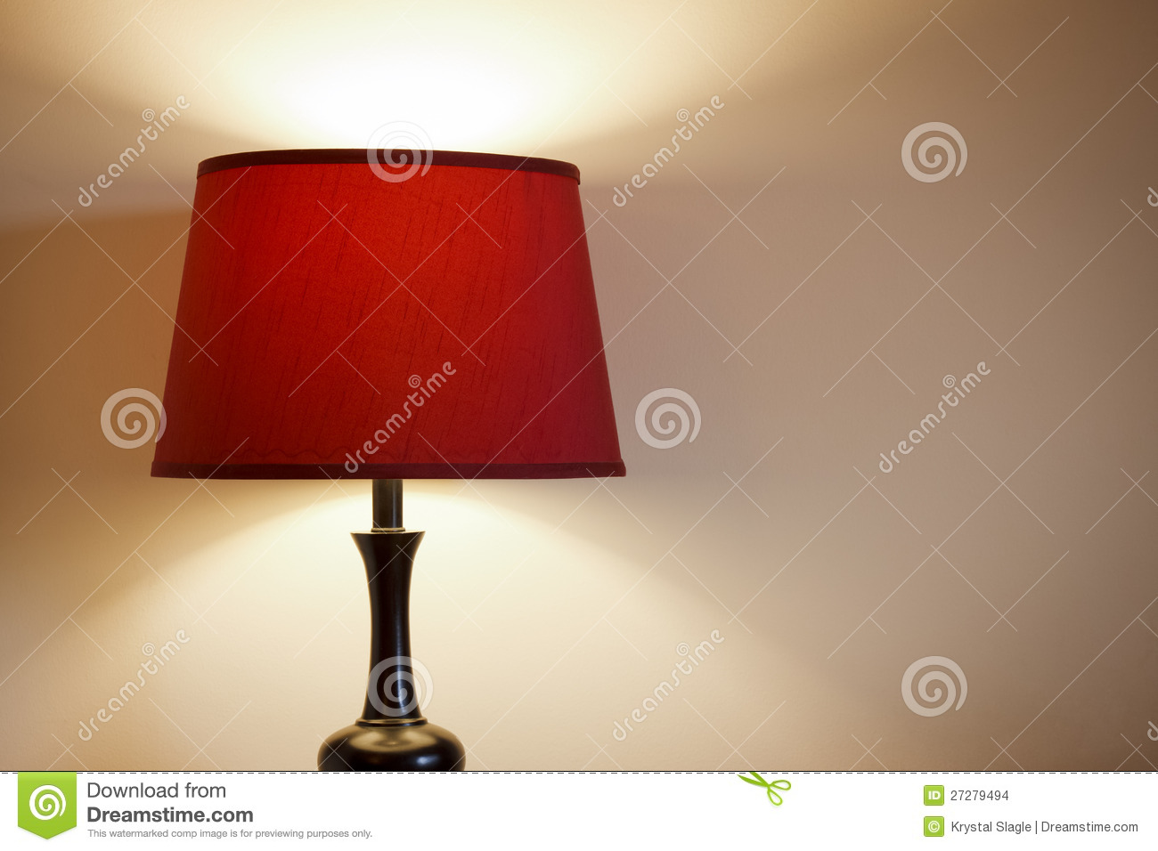 Light With Red Lamp Shade Stock Photo Image Of Lamp 27279494