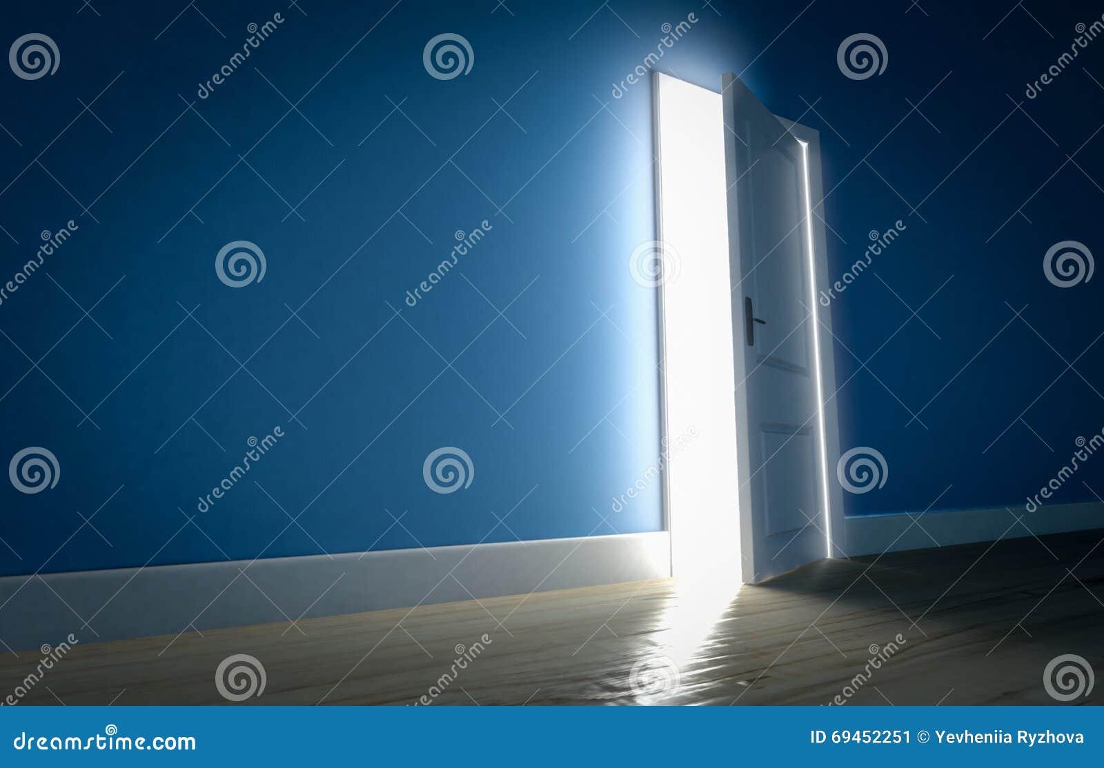 Dark room with light through door - Light Shining Through Open Door In Dark Room With Blue Walls And Stock Image