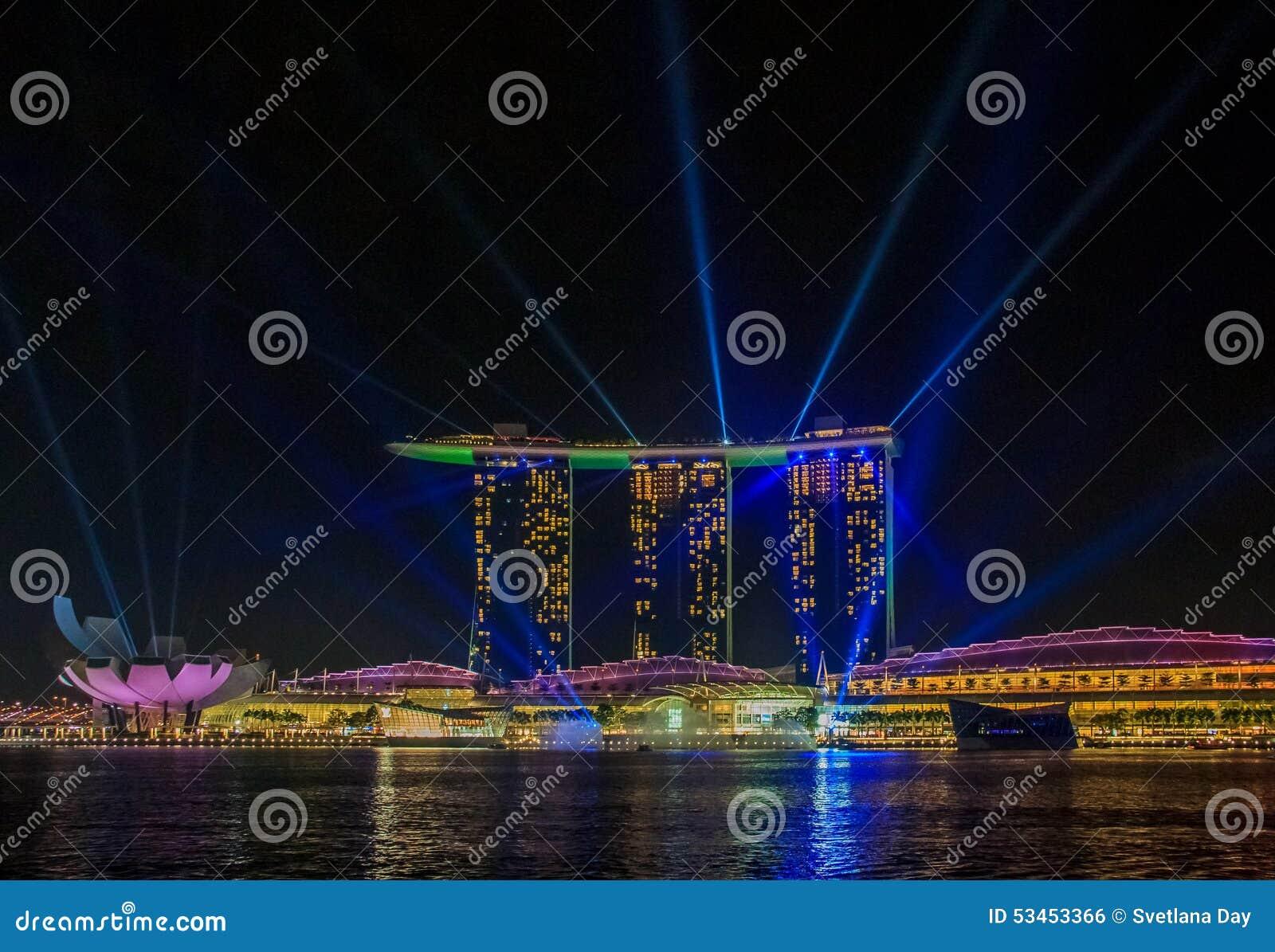 light show at singapore marina bay sands editorial photo image of