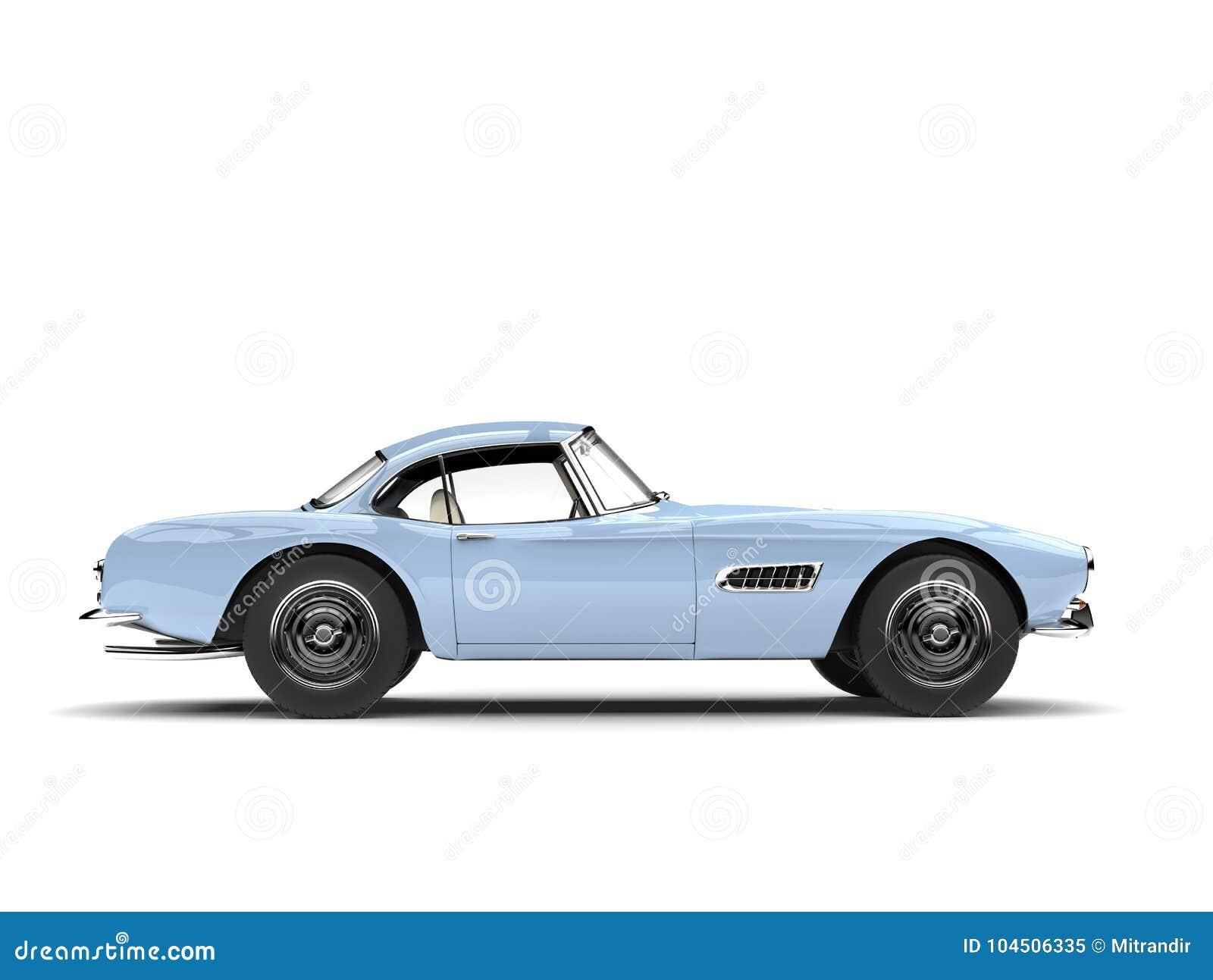 Light Sky Blue Vintage Sports Car Side View Stock Illustration