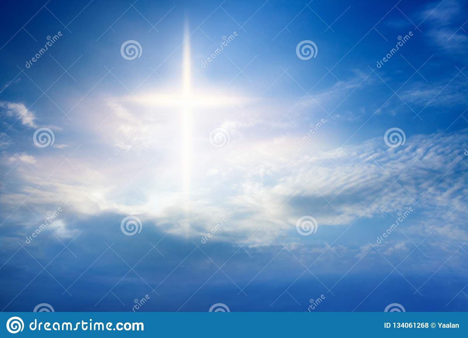 Light from sky . Religion background .
