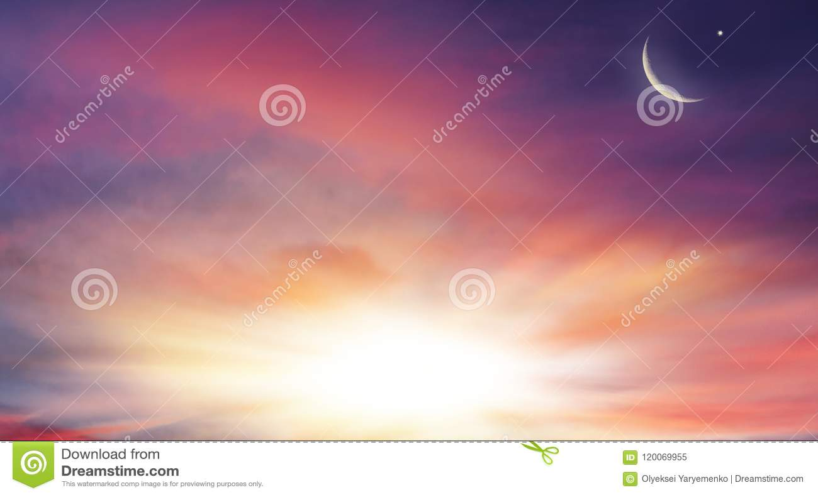 Sunrise . Light from sky . Religion background .