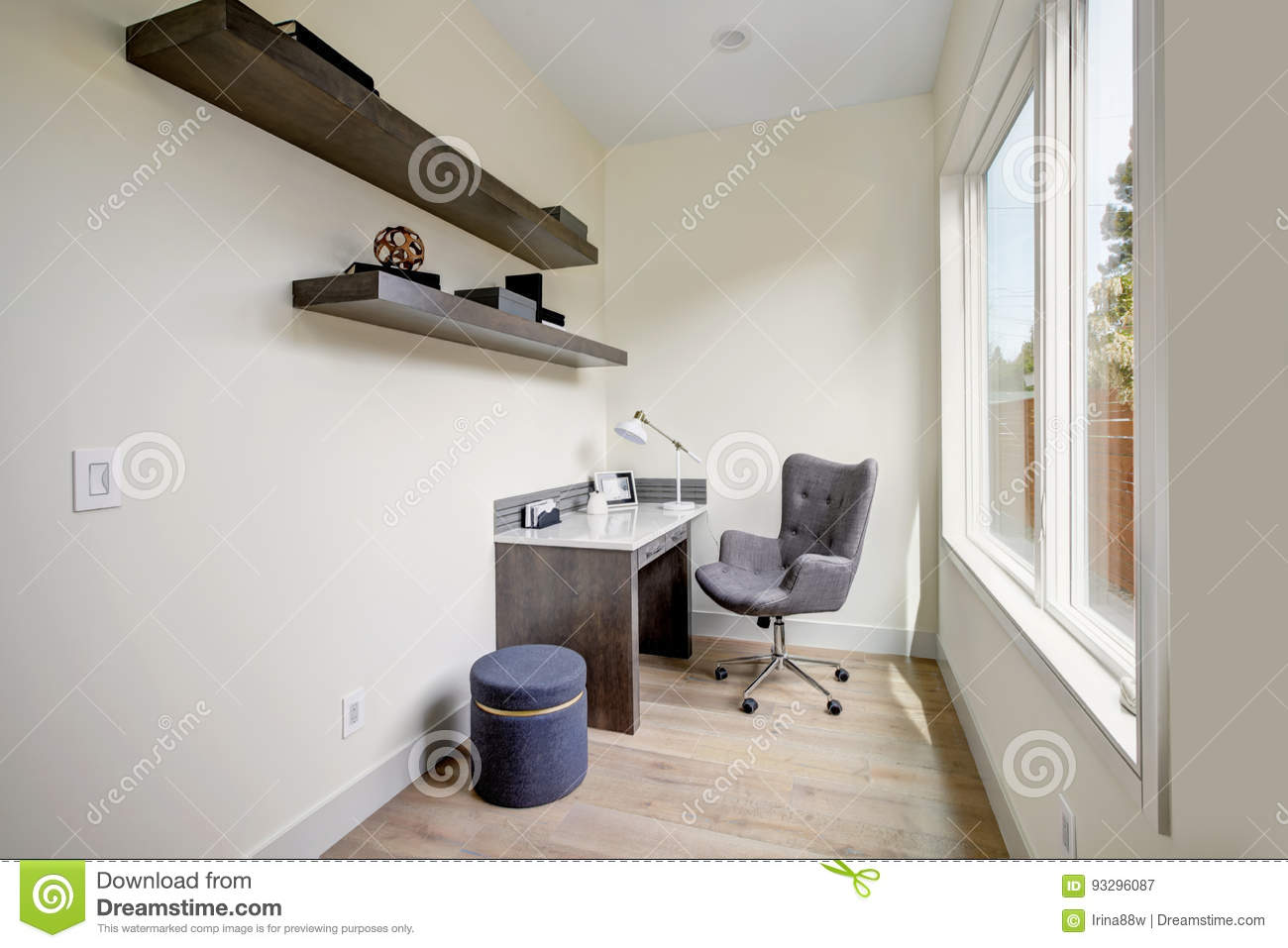 Light Small Home Office Interior With Corner Desk And A