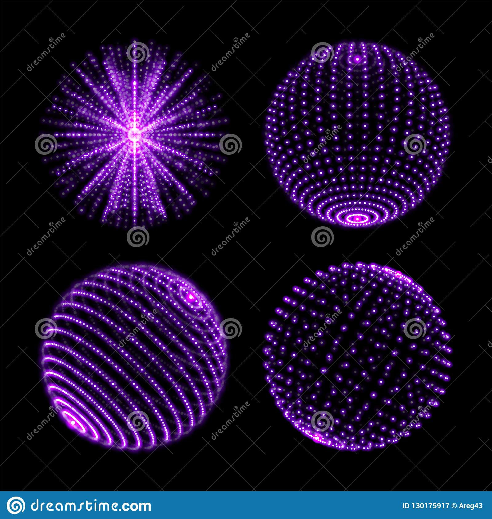 Light sphere ball. Vector neon light globes with spiral ultraviolet sparkles and energy glow rays or particles with dot connection