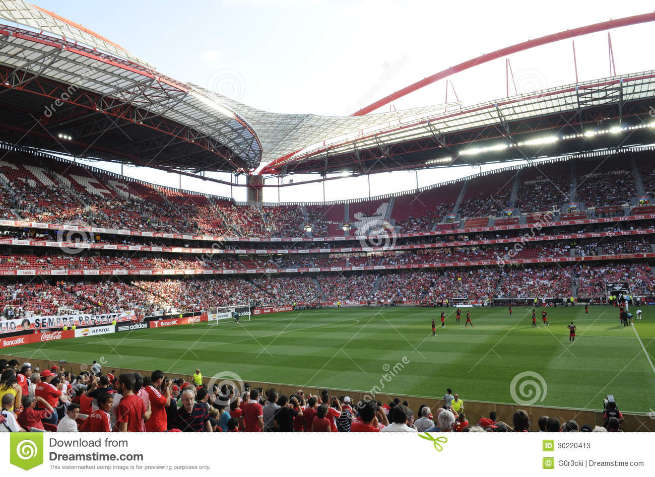Soccer Stadium and Fans, Football Arena, Sports Crowd, Benfica Stadium, Lisbon