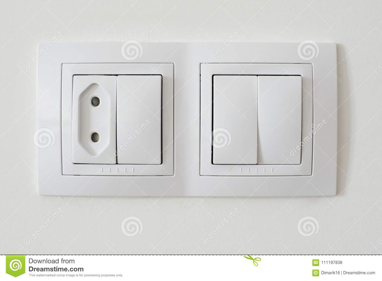 Light switch socket stock photo. Image of outlet, holes - 111197838