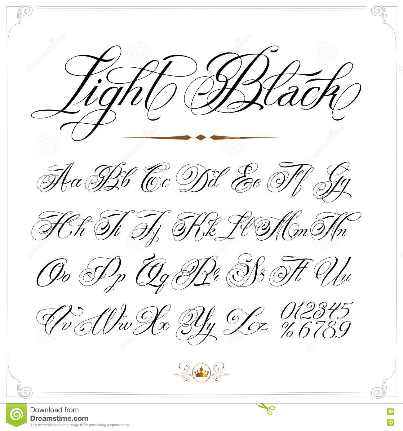 Light tattoo font stock vector illustration of calligraphy 72853780 hand drawn vector calligraphy tattoo alphabet with numbers altavistaventures Images