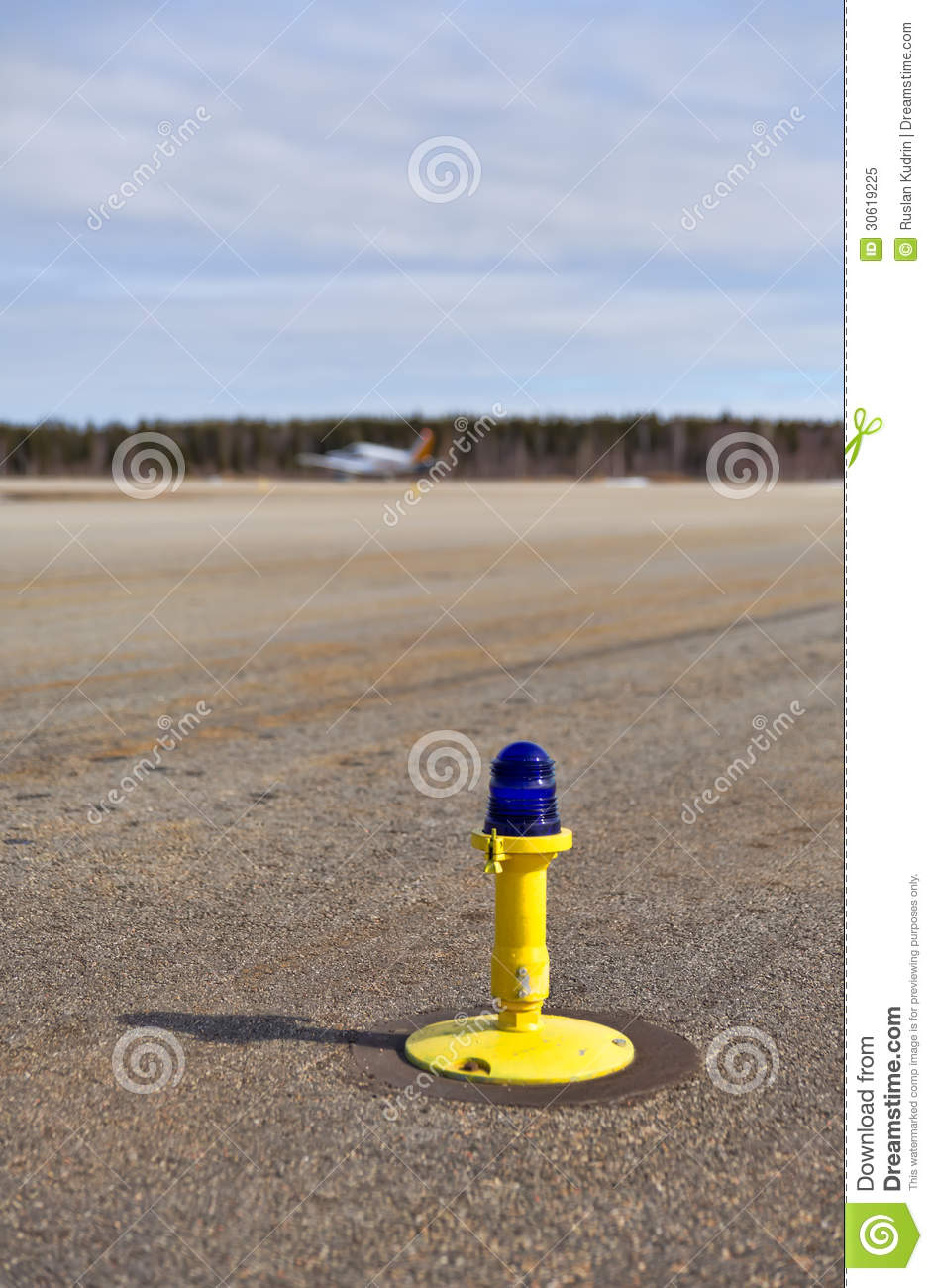 Light on taxiway stock image  Image of outdoors, aviation