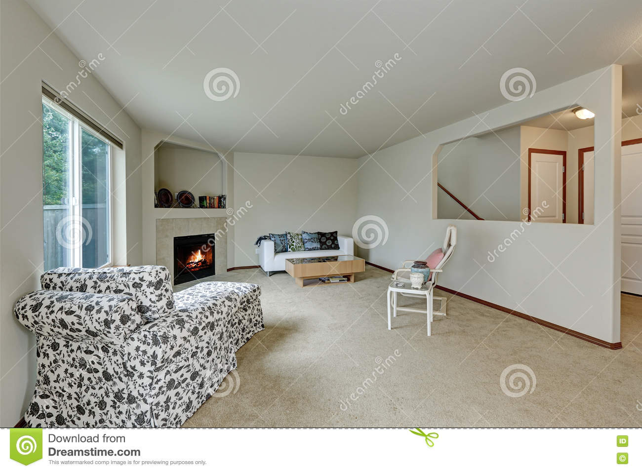 Light Tones Elegant Living Room With Fireplace In The Corner Stock Photo