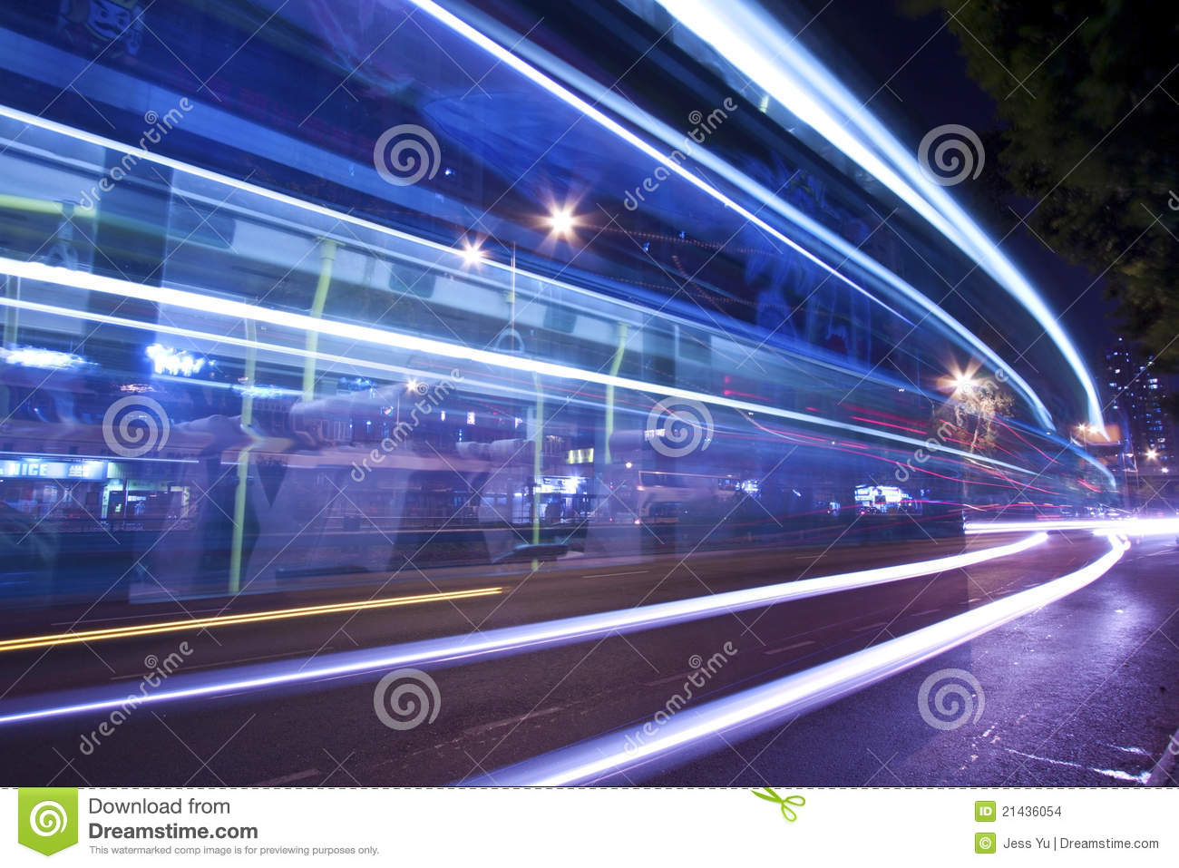 Download Light Trails At Night With Busy Traffic Stock Photo - Image of kong, color: 21436054