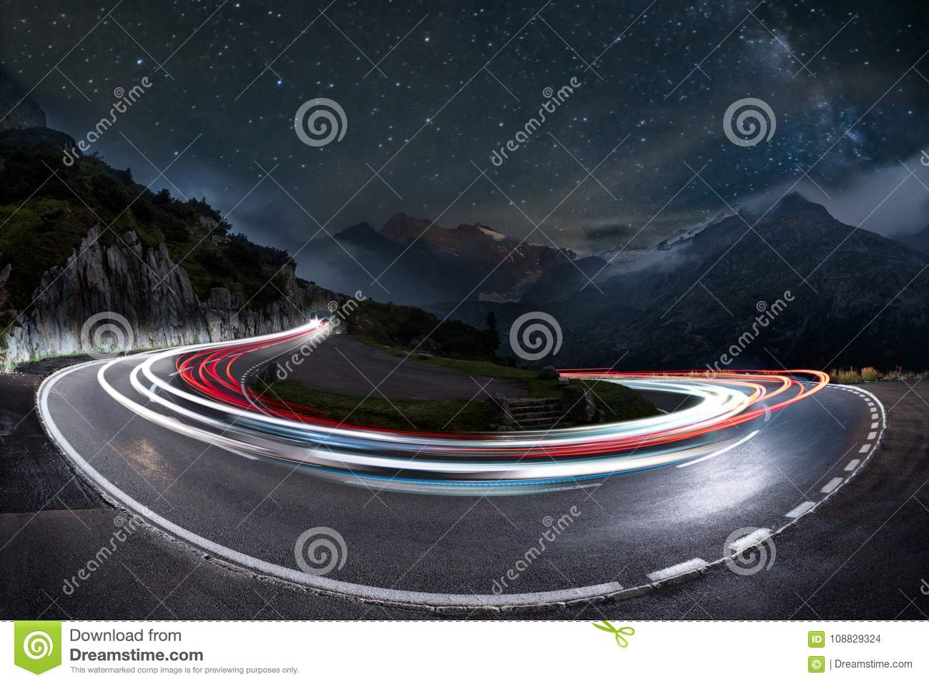 Light trails speed curve and milky way