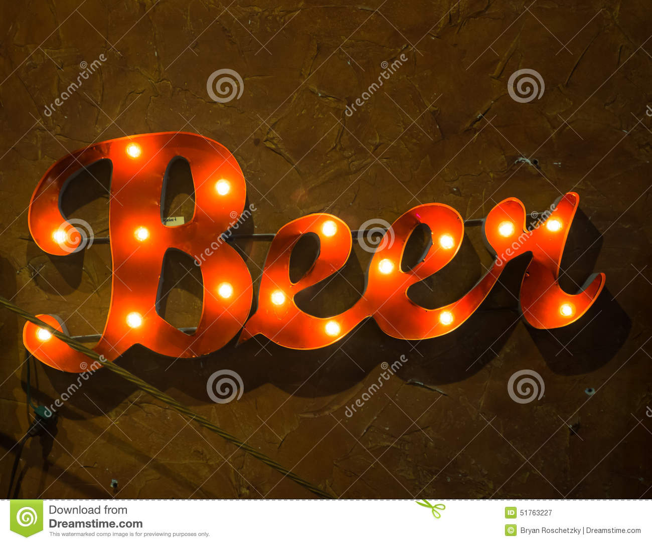 Light Up Beer Sign Says Time To Drink Stock Image - Image