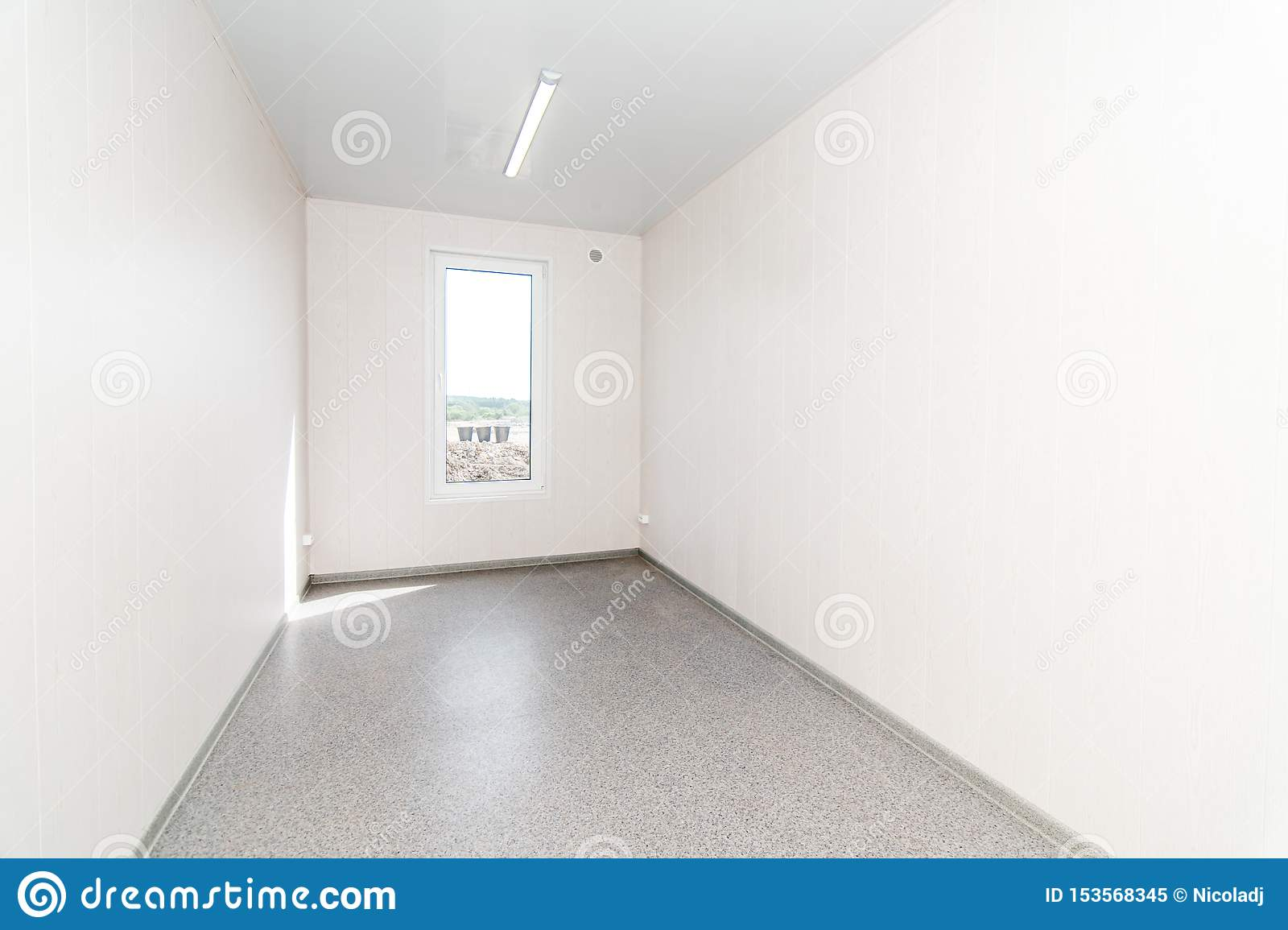 Light white empty office room with bright lighting